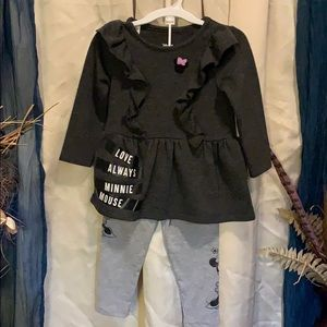 Girls 2 piece Minnie Mouse gray outfit